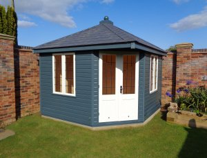 3.0 x 3.0m Weybourne Summerhouse in Slate and Ivory with slate effect roofing tiles