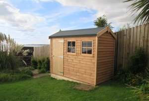 1.5 x 3.0m Light Oak Superior Shed with Weatherboard Cladding