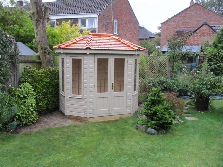 1.8 x 2.5m Wiveton Summerhouse in Taupe with Shiplap Cladding and Cedar Shingles on the roof