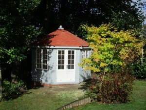 3.6 x 3.6m Wiveton Summerhouse in two-tone Verdigris and Ivory with Terracotta Slate Effect Tiles on the roof