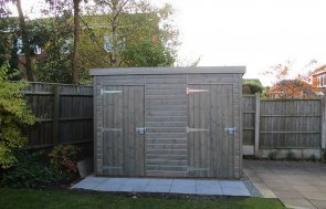 2.4 x 3.0m Pent Roof Superior Shed in Sikkens Grey with Shiplap Cladding