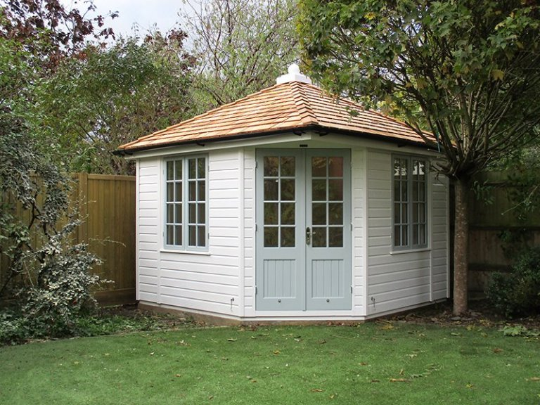 3 x 3m Weybourne Summerhouse in two-tone paint, Verdigris and Ivory from our exterior paint system