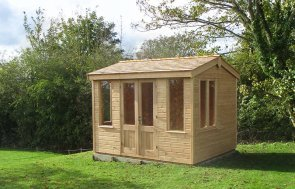 2.4 x 3.0m Holkham Summerhouse in Light Oak with Cedar Shingles on the Apex Roof