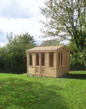 2.4 x 3.0m Holkham Summerhouse in Light Oak with Cedar Shingles on the Apex Roof