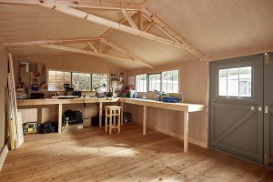 A workshop set up inside our Superior Shed