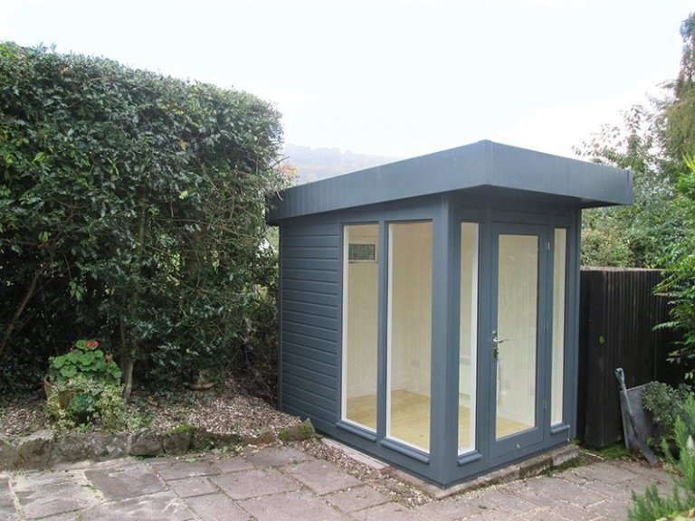 2.4 x 1.8m Salthouse Studio painted in Slate from our exterior paint system