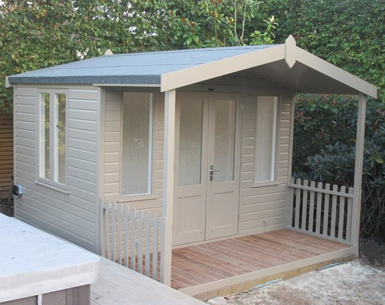 10 x 12ft Morston Summerhouse painted using Farrow & Ball's exterior paint colour Mouse's Back