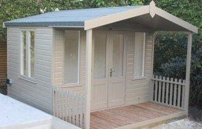 10 x 12ft Morston Summerhouse painted using Farrow & Ball's exterior paint colour Mouse's Back