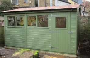10 x 14ft Superior Shed painted in Lichen