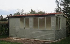3.0 x 5.4m Langham Studio with Storage Partition painted in Ash from our exterior paint system