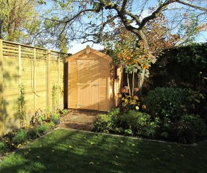 1.5 x 2.1m Classic Shed in Light Oak with an Apex Roof