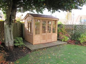 1.8 x 2.4m Holkham Summerhouse in Light Oak with Terracotta Slate Effect Tiles on the roof
