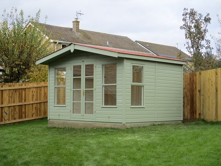 12 x 10ft Blakeney Summerhouse in Lizard with terracotta slate effect roof tiles