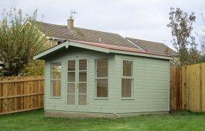 12 x 10ft Blakeney Summerhouse in Lizard with terracotta slate effect roof tiles