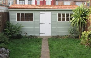 1.3 x 5.4m Superior Shed in two-tone Lizard and Ivory