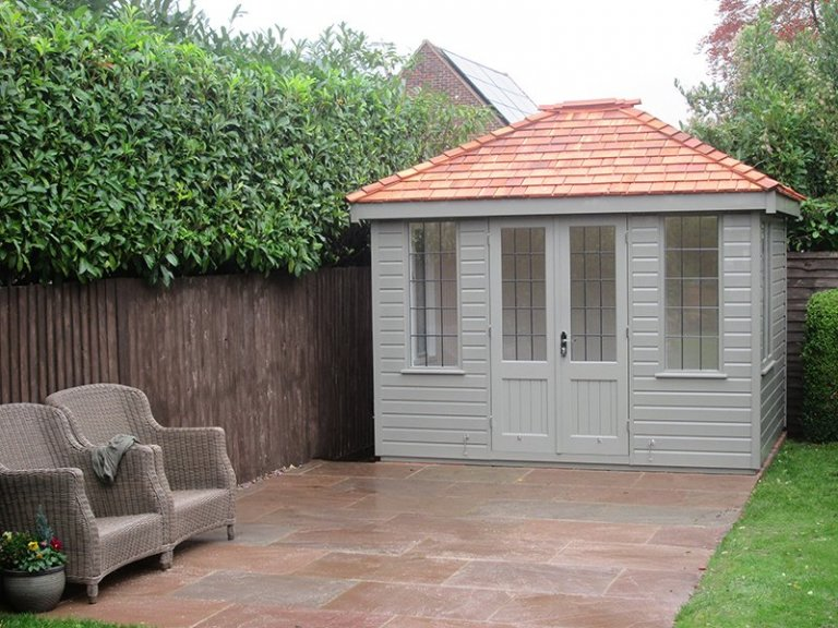 8 x 10ft Cley Summerhouse painted in Ash from our exterior paint system