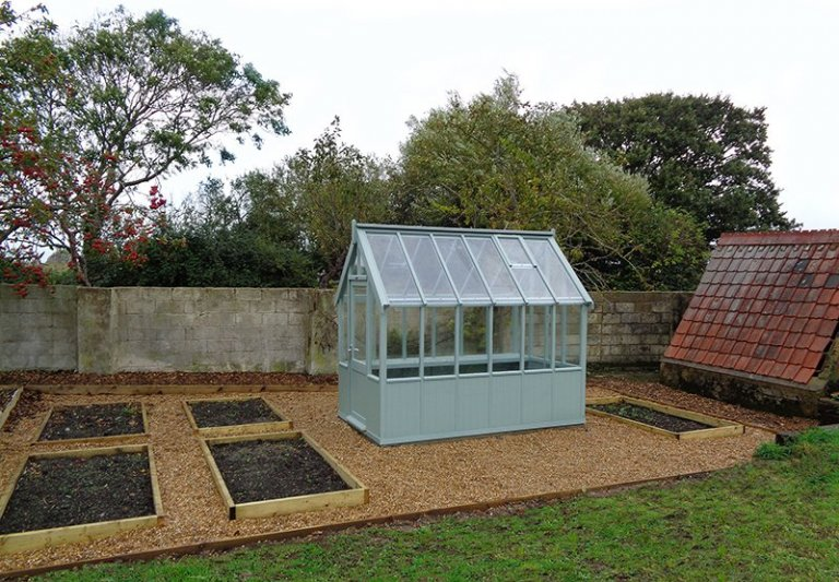 1.8 x 3.0m Greenhouse painted in Sage from our exterior paint system