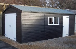 A close up of the 3.6 x 6.0m Black & Ivory painted Garage at Burford