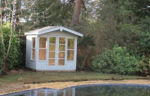 2.4 x 1.8m Blakeney Summerhouse in Verdigris, With a Charming Apex Roof Overhang