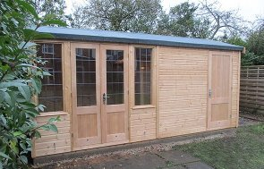 2.4 x 4.8m Holkham Summerhouse with Storage Partition in Light Oak Preservative