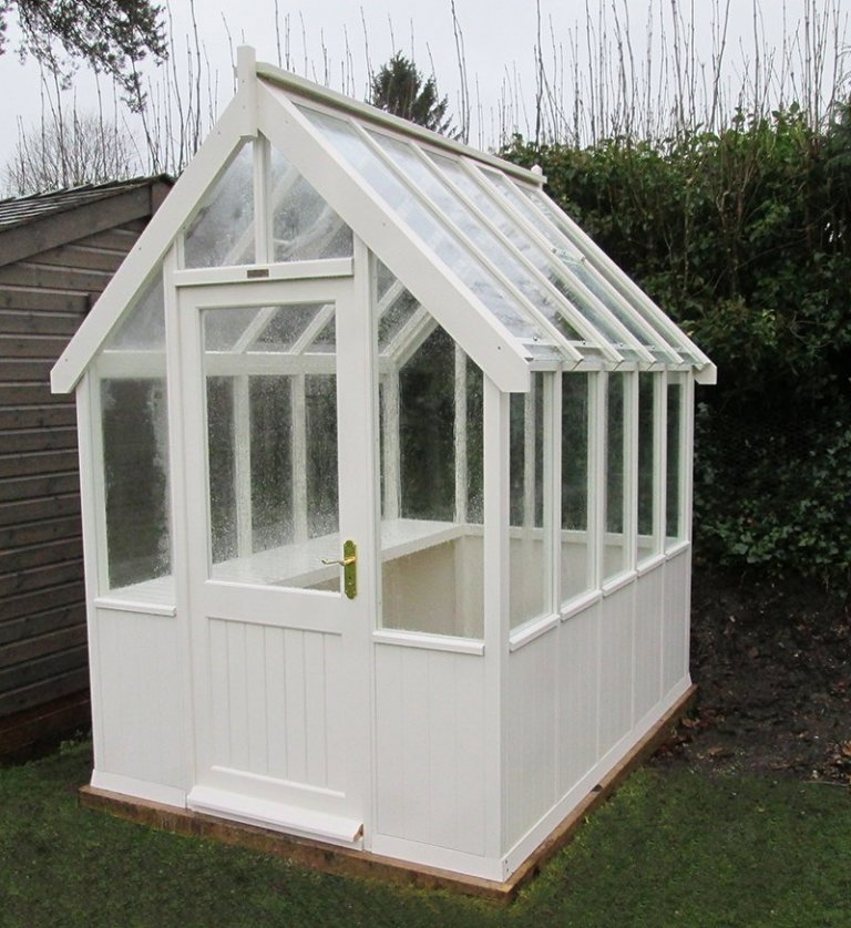 1.8 x 2.4m Greenhouse painted in Cream from our exterior paint system