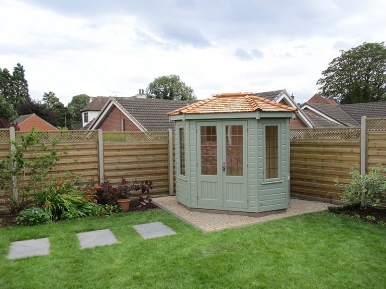 1.8 x 2.5m Wiveton Summerhouse in Lizard with Natural Matchboard lining inside