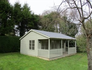 6.0m x 6.0m Pavilion Garden Room in Farrow & Ball French Gray
