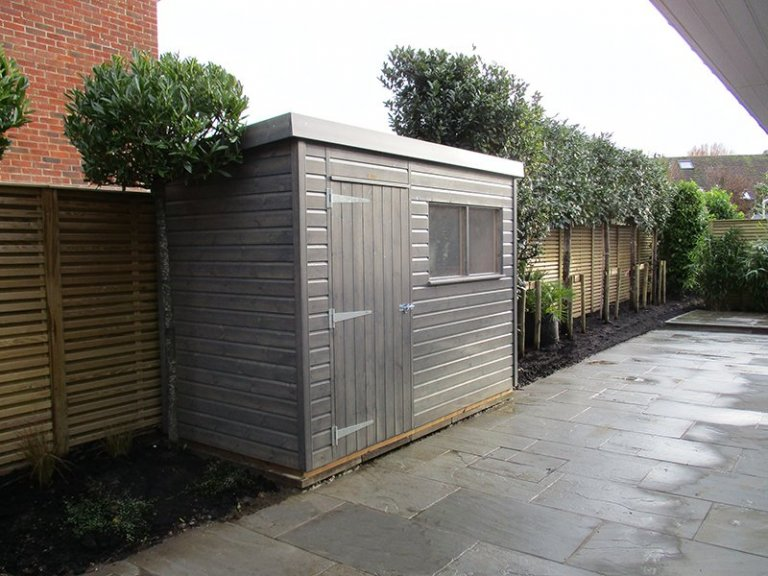1.5 x 3.0m Grey Sikkens Superior Shed with Pent Roof