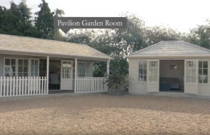 Burford screenshot of a Pavilion Garden Room and a hipped roof Garden Room from show site walkthrough video