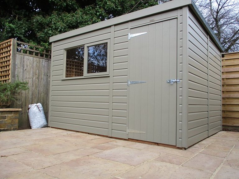 8 x 10ft Classic Shed with Pent Roof painted in Stone