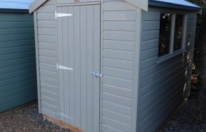 Burford Classic Shed 1.8 x 2.4m Stone with an Apex Roof covered in Heavy Duty Roofing Felt