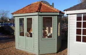Burford Wiveton Summerhouse 2.4 x 3.0m painted in Farrow & Ball Card Room Green