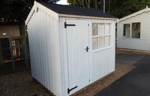 Burford Felbrigg National Trust Shed 1.8 x 2.4m painted in Earls Grey from the National Trust Paint System