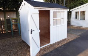 Burford Felbrigg National Trust Shed 1.8 x 2.4m with open door painted in Earls Grey from the National Trust Paint System