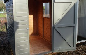 Brighton Classic Shed 1.5 x 2.1m in Stone with open door