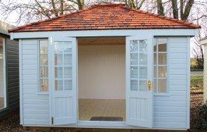 Brighton Cley Summerhouse 3.0 x 3.6m with open doors in Verdigris