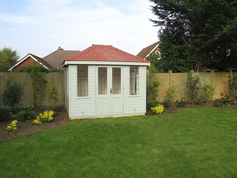 2.4 x 3.0m Cley Summerhouse in Verdigris with Leaded Windows
