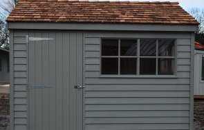 St Albans 2.4 x 3.0m Weatherboard Superior Shed in Farrow & Ball Pigeon
