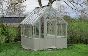 2_4 x 3_0m Greenhouse in Ash with an Oak-Faced Plywood Workbench installed inside