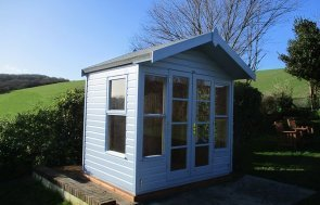 2.4 x 1.8m Chalet-Style Blakeney Summerhouse in Sundrenched Blue