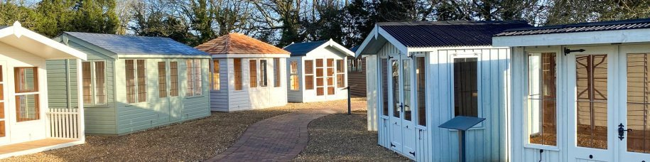 Summerhouses on display at St Albans show site, Hertfordshire