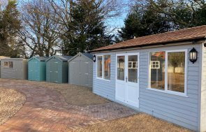 Sales office and Classic Sheds at St Albans show site in Hertfordshire