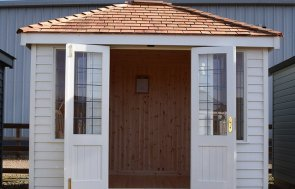Narford 2.4 x 3.0m Cley Summerhouse with open doors in Cream
