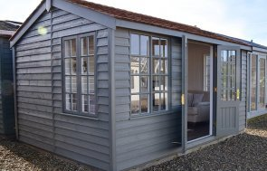 Narford 3.0m x 4.2m Holkham Summerhouse with open doors in Ash