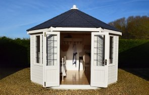 Narford 3.6 x 3.6m Wiveton Summerhouse with open doors in Cream