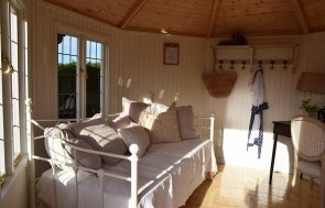 Interior of the Narford 3.6 x 3.6m Wiveton Summerhouse in Cream