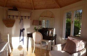Inside the Narford 3.6 x 3.6m Wiveton Summerhouse in Cream