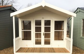 3.0 x 3.6m Morston Summerhouse in Exterior Cream paint at St Albans