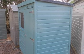 Side profile of the Burford 1.2 x 1.8m Classic Shed in Mint from our Classic Paint System
