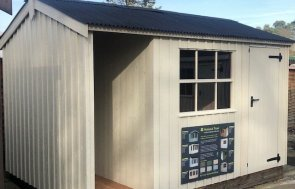 Side Profile of Sunningdale Blickling Shed 2.4 x 3.6m painted in National Trust Dome Ochre